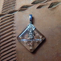 Buddha Orgonite Pendant, selenite pendant, spiritual jewelry, EMF protection
