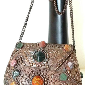 India Vintage Metal Brass Purse Hand Crafted Unique Beautiful Ornate Finishings Clasp Large Semi Precious Stones