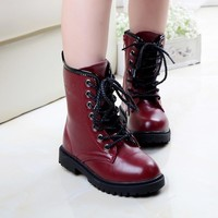 Children boots 2018 autumn new high crested leather casual students boots boys wine red horse boots kids boots girls