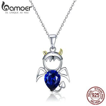 BAMOER Real 100% 925 Sterling Silver Lovely Angel And Devil Pendant Necklaces Blue CZ Necklace For Women Silver Jewelry SCN283