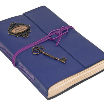 Large Purple Leather Journal with Tea Stained Paper - Key To My Heart