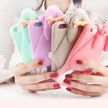 "2017 Cartoon 3D Soft Cute Silicone Rabbit Bunny Case For iPhone 7 5 5S SE 4 4S 6 6S 7 Plus 4.7"" 5.5"" Lovely Rabito Phone Back Cover -0329"