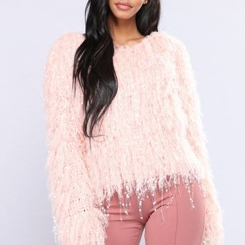 Honey Fuzzy Sweater - Pink