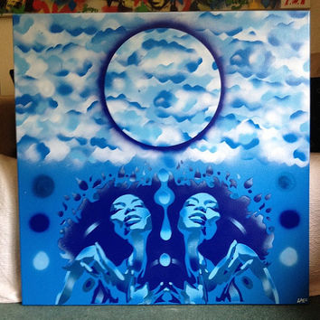 Afro women painting,blues,high in the sky,stencil art,spray paint,large pop canvas,abstract,winter,Europe,home,living,moon,urban,graffiti