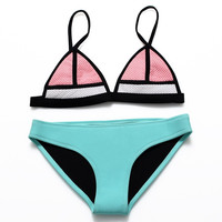 Fashion Multicolor Stitching Triangle Bikini Set Swimsuit Swimwear