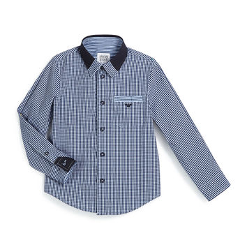 Gingham Poplin Shirt, Navy/White, Size 3-8,