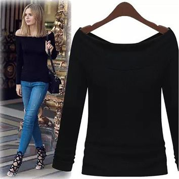 2017 Autumn Fall Women's Boat Neck, Long Sleeve, Casual, Sexy T-Shirt Top S M L  Comes in gray, black and white