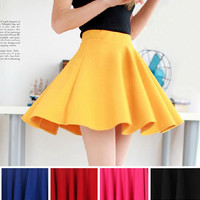 2016 Fashion Hot Sexy Women High Waist Plain Skater Flared Pleated Casual Cotton Mini Skirt 22