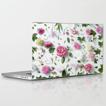 Flower Garden Laptop Decal, Floral Laptop Decal, Pink Flower Petals Laptop Decal for Apple Macbook Air, Macbook Pro Retina, Macbook Pro