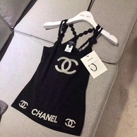"""""""Chanel""""  Women All-match Fashionl Embroidery Letter Sleeveless Strap Vest Tops"""