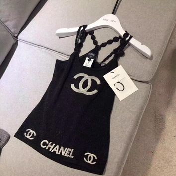 """Chanel""  Women All-match Fashionl Embroidery Letter Sleeveless Strap Vest Tops"