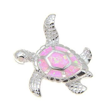 925 Sterling Silver Rhodium Hawaiian Honu Sea Turtle Pink Opal Slider Pendant
