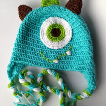 Crocheted Monster Hat in Turquoise, Lime Green, Brown with Earflaps and Braids in sizes newborn to large adult