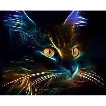 DIY Paste Light Cat Animal 3D Diamond Painting Cross Stitch Pattern Full/100% Area Square AResin Stick Tools For Wall Room Home