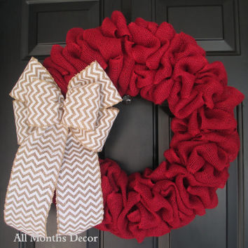 Red Burlap Wreath with White Chevron Burlap Bow, Rustic Country Decor, Fall Winter Christmas Holiday Year Round, Fall, Porch Door