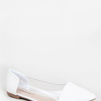 Pointy Toe Ballet Flats With Clear Lucite Panel And White Cap Toe And Heel (Small/Indie Brands)