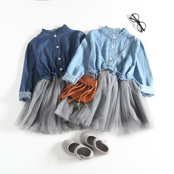 Toddler Baby Denim tulle MIni Dresses for girl Long Sleeve Princess Cowboy outfit Peter pan Collar clothing set new Year costume