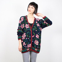 Vintage Oversize Sweater Floral Knit Jumper V Neck Cardigan 1990s 90s Chunky Knit New Wave Sweater Navy Blue Red Green Pink M medium L Large