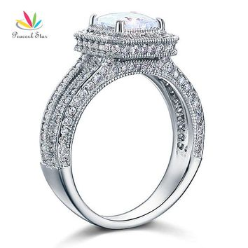 Peacock Star Vintage Style 1.5 Ct Solid 925 Sterling Silver Wedding Promise Engagement Ring CFR8111
