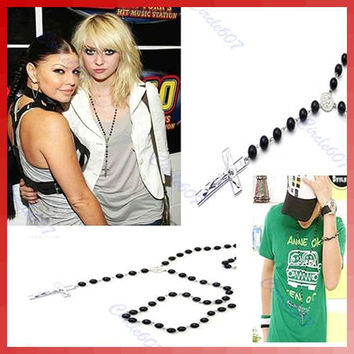 Fashion Design Mens Womens Cross Pendant Black Rosary Beads long chain Necklace ZB380