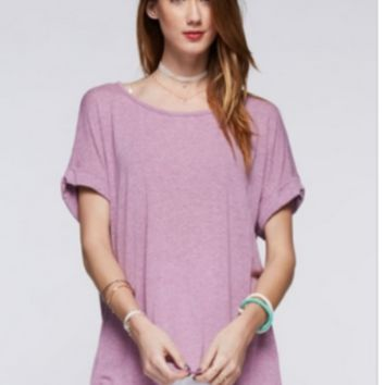 Easel Cuffed Oversized Tee in Violet