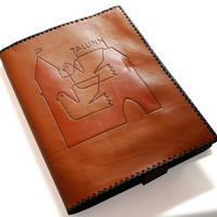 Vintage Brown Leather Book Cover With Bookmark & Tallinn Old Town Silhouette Picture