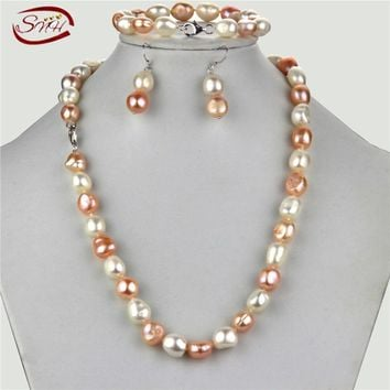 SNH 11mm mixed color 925 Sterling Silver Freshwater Pearl Jewelry Set White baroque Pearls Necklace Bracelet and Earrings