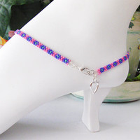 Beaded Ankle Bracelet - Pink and Purple Anklet With Silver Tone Heart Charm - Anklet With Charm - Ankle Jewelry - Heart Charm - Foot Jewelry