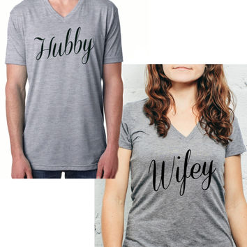 V Neck Hubby/Wifey Cute Matching Couple Shirts #2