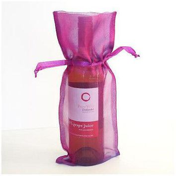 4 Rose Purple Wine Bag Gift Favor Pouch 6x14 Gift Bags Organza Satin