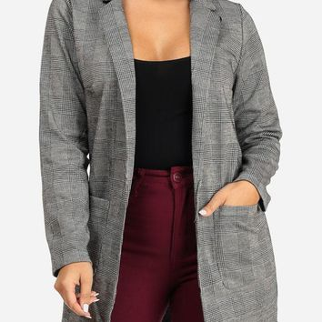 Stylish Houndstooth Blazer