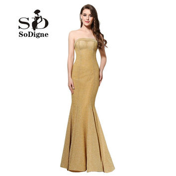 Evening Dress 2017 SoDigne Sexy Slim Lange Abendkleider Golden Mermaid Prom Dress Backless Party Gown