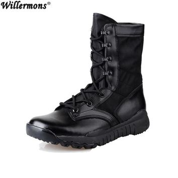 Summer Men's Outdoor Breathable Army Tactical Boots Mens Light Military Combat Work Bo