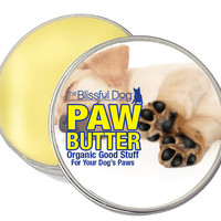 Dog Paw Butter - Organic Handcrafted Salve for Dry or Cracked, Rough Dog Paw Pads BIG 8 oz. Tin with Paw on Label in an Organza Gift Bag
