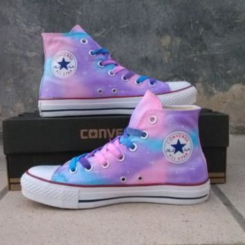painted shoes converse Gradient sky hand-painted shoes Girls Custom galaxy starry sky,