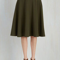 Scholastic Long Full Bugle Joy Skirt in Olive