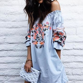 Summer Boho Floral Beach Dress