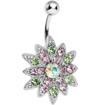 Multi Colored Gem Chrysanthemum Flower Belly Ring