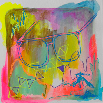 Mixed media, Drawing, Gouache, Glasses, Hipster,  Original, Paper, Small, Metallic, Sketch, Pink, Artwork, Teal, Red, Fluorescent, Geometric