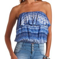 Tribal Print Ruffle Tube Top by Charlotte Russe - Blue Combo