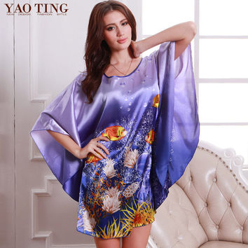 RB028 Summer Sexy Silk Nightgown Sleepshirts Women Short-sleeves Sleepwear Lounge Casual Satin Silk Nightwear Female Dress