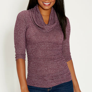 ribbed cowl neck pullover with 3/4 length sleeves