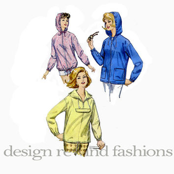1960s HOODED JACKET or PARKA Lightweight Beach Jacket Hoodie Pullover Front Zip Bust 38 40 Simplicity 5256 Women's Vintage Sewing Patterns