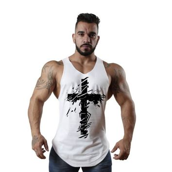 2018 Newest Summer Fashion Design Men Tank Tops Men's Cotton The cross Printed Hipster Vest 5 Color White Black Army Green