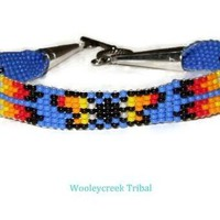 Tribal Beaded Butterfly Bracelet , SS Clasp, Red, Blue, or Turquoise