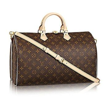ESBONIA Louis Vuitton Monogram Canvas Crosss Body Leather Handles Handbag Speedy Bandouliere 40 Article: M41110
