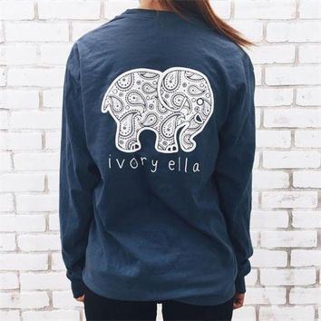 VONE05T9 2016 Fashion Women Popular Navy Blue Ivory Ella Cartoon Elephant Printed Floral Printed Long Sleeve Top T-Shirt