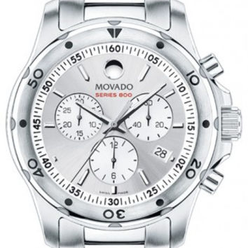 Movado Series 800 Men's Stainless Steel Silver Dial Chronograph 42mm Watch 2600077