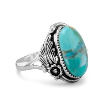 Vintage Natural Turquoise 925 Sterling Silver Leaf Floral Engagement Wedding Ring