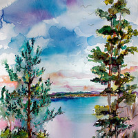 SOLD Oregon Lake Oswego - Original Watercolor and Ink by Ginette Callaway